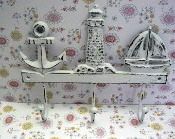 Anchor Lighthouse Sailboat Cast Iron Wall Hook Shabby Chic White Beach Home Decor