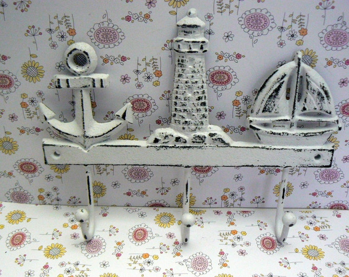 Anchor Lighthouse Sailboat Cast Iron Wall Hook Shabby Chic White Beach Home Decor