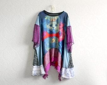 Women's Cat Shirt Plus Size Tunic Colorful Clothing Bohemian Chic Eco Friendly Long Layer Shirt Lagenlook Clothes Art Fashion 2X 3X 'SIENNA'