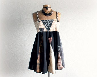 Women's Funky Tunic Upcycled Art Clothing Boho Shirt with Straps Gypsy Bohemian Black Babydoll Top Eco Conscious Mini Dress Large 'STACIE'