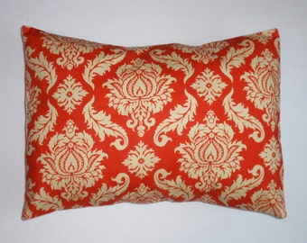 Throw Pillow Cover, Saffron Orange Damask Pillow Cover, Handmade Lumbar Toss Pillow Cover, Cushion Cover, Joel Dewberry Fabric, 12x16 Square