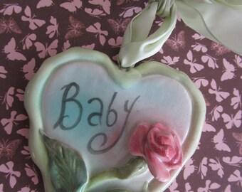Baby  Sweetheart Rose Ceramic Heart Wall Hanging