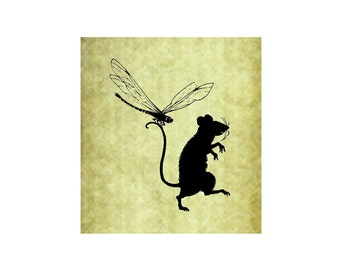 DRAGONFLY AND RAT Rubber Stamp~Summer Fun~Silhouette~Spring~Cling Unmounted Stamp~Mountainside Crafts~Garden~Large Cling Stamp (54-14)