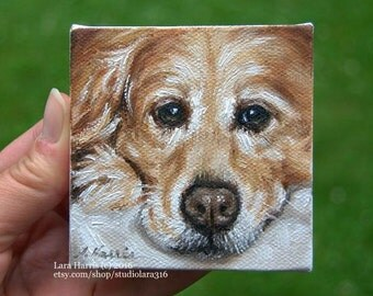 CUSTOM Golden Chill...Miniature Painting in OIL by Lara aceo 3x3 Mini Tiny Art