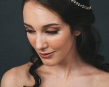 Gold Bridal Halo | Rhinestone Wedding Hair Accessories | Gold Crystal Wedding Headband [Kleio Halo]