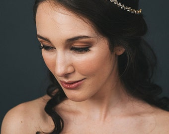 Gold Bridal Halo | Rhinestone Wedding Hair Accessories | Gold Crystal Wedding Headband | Bridal Headpiece [Kleio Halo]