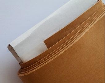 BROWN / KRAFT Kraft-tex Krafttex washable paper vegan leather alternative fabric, per meter
