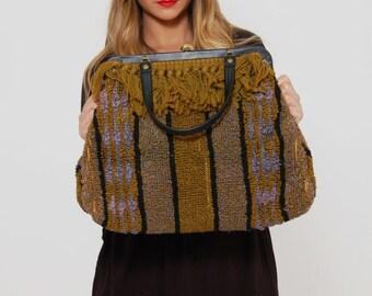 Vintage 50s  CARPET Bag FRINGE Doctor Bag Mary Poppins Bag OVERSIZED Handbag Loop Knit Striped Handbag