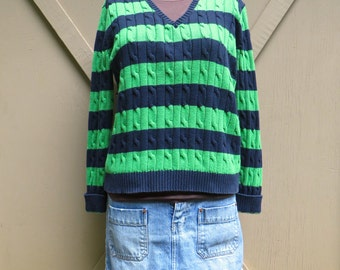 90s vintage Chaps Ralph Lauren Lime Green and Navy Blue Striped Cable Knit Sweater