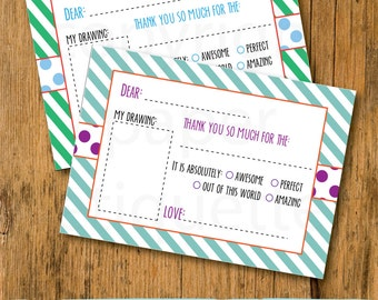 Kid's Fill In The Blank Thank You Card -  Christmas Thank You Children's Card - Holiday Fill In The Blanks - Kids Thank You Notes