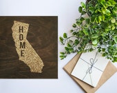 CALIFORINA STATE wood sign silhouette. CA State. Personalized Map Art 12x12
