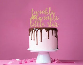 Twinkle Twinkle Glitter Cake Topper. Little Star. Baby Shower Cake Topper. 1st Bday. Girl Birthday. Baby Shower. Wedding Shower. Baby Shower