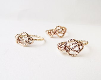 Love Knot Ring Gold Filled. Nautical Knot Ring. Gold Promise Ring. Nontraditional Engagement Ring. Infinity Knot Ring