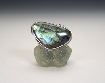 Labradorite Ring, Blue Stone Ring, Sterling Silver, 14kt Gold, Large Statement Ring, Northern Lights, Handmade