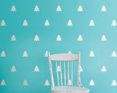 Pine Tree Vinyl Wall Decals, Set of trees for patterned walls, Forest nursery decor, Evergreen tree decals, Christmas Tree decals