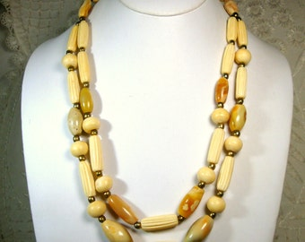 OxBone and Stone 2 Strand Necklace, 1970s Carved Tribal Cream Color Beads, Unused