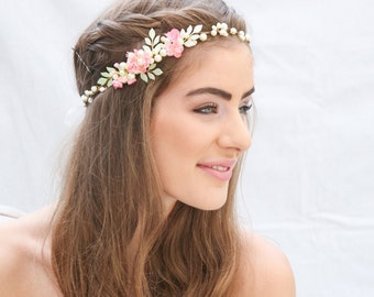 Rustic Wedding Flower Crown with Hand painted Leaves and Pink Flowers Boho Wedding Hair Accessory Woodland Wedding Headpiece Bohemian Bride
