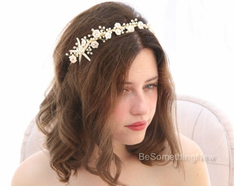 Beach Wedding Starfish and Pearl Headband Wedding Headpiece Destination Wedding Headband Beaded Tiara with Star fish and Shell Flowers