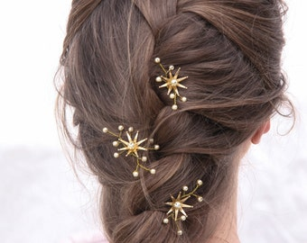 Wedding Hair Pins Star Flower and Champagne Pearl Bridal Hair Pin Set, Brass Flower Bobbie Pins Hair Jewelry Beaded Headpiece