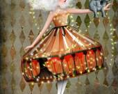 "ACEO ATC Artists Trading Card Circus Performer Girl ""Carnivàle"" Premium Fine Art Mini Print 2.5x3.5"