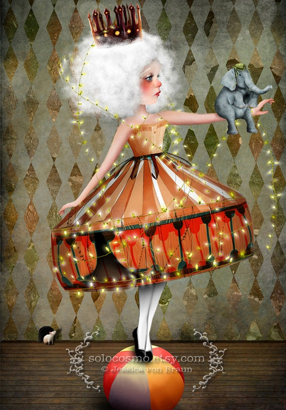 "ACEO ATC Artists Trading Card Circus Performer Girl ""Carnivàle"" Premium Fine Art Mini Print 2.5x3.5"