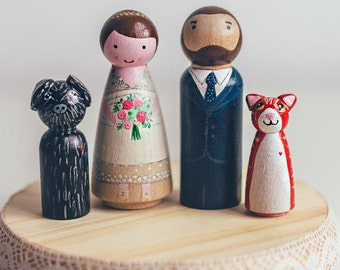 Custom wedding Cake Toppers with pet. Peg Dolls. Wedding Wooden Dolls large size.  Wooden Cake Toppers with animal friends
