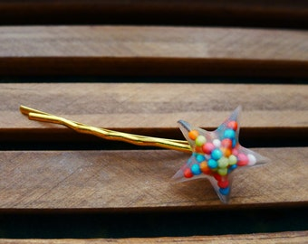 Colorful star- shaped candy sprinkle hair pin, hair accessories