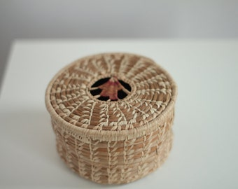 Medium Sized Handmade Grass Coil Lidded Basket ornament in the middle of lid - Hand Woven Basket