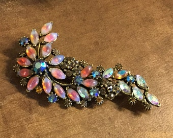 Coral Hued Floral Spray Juliana Style Brooch Pin Rhinestones and Moonglow Cabochons