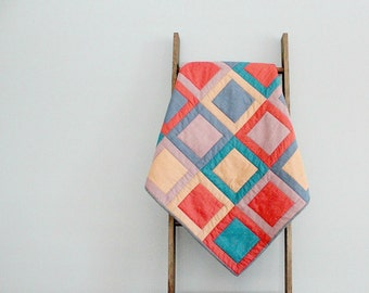Modern Baby Boy or Girl Quilt, Baby Blanket, Crib Quilt, Stroller Blanket - Sashed Squares in Coral, Lavender, Blue, and Beige