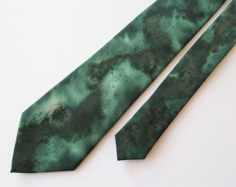 Green Tie, Extra Long Tie, Hand Painted Green Tie, Hand Painted Extra Long Green Tie, Extra Long Green Tie, Gift For Him, Wedding Tie