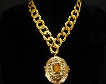 LARGE Victorian Pearl locket Rhinestone religious portrait Thick gold chain Choker Vintage signed estate jewelry