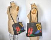 Southwestern Tote Bag / BOOT Black Leather Purse