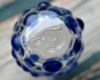 Cobalt Blue Dewdropped Jar with Trippy Lens - Handblown Glass
