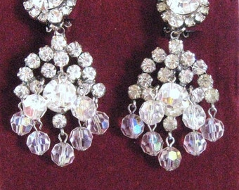 Rhinestone Earrings D & E Juliana Cascading Chandelier Clear Stones + Dangle Iridescent Crystal Glass Beads, 50s 60s Vintage Formal Wedding