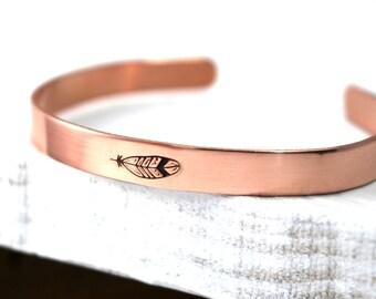 Feather Cuff,Cuff Bracelet,Feather Bracelet, Copper Cuff, Copper Bracelet, Boho Cuff, Womens Cuff, Womens Bracelet, Hipster Bracelet