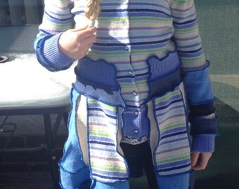 Blue with Stripes Recycled Wool Buttoned Sweater Coat for a Tween