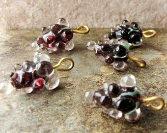 Glass Grape Charms Vineyard Grapes Wine Charms Green Purple  Wine bottle Glass Oenology Grape Vintage Jewelry Necklace Bracelet Supply #188