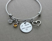 I love you more, stainless steel bangle bracelet with Swarovski Crystal Birthstone, open heart charm, Christmas gift for her, Mom