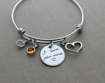 I love you more, stainless steel bangle bracelet with Swarovski Crystal Birthstone, open heart charm, Mother's Day gift for her, Mom
