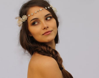 Crystal Wire and Petal Headband- The Daphne