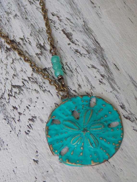 Sand Dollar Necklace Turquoise Blue Boho Chic By