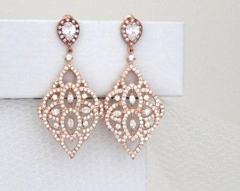 Rose Gold Bridal earrings, Chandelier Wedding earrings, Bridal jewelry, Rose Gold chandelier earrings, Crystal earrings, EMILY