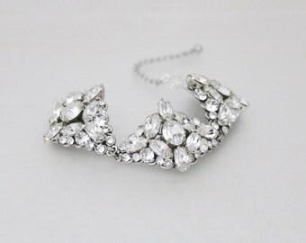 Bridal bracelet, Crystal Bracelet, Bridal jewelry, Wedding bracelet, Wedding jewelry, Swarovski bracelet, Statement bracelet, Cuff bracelet