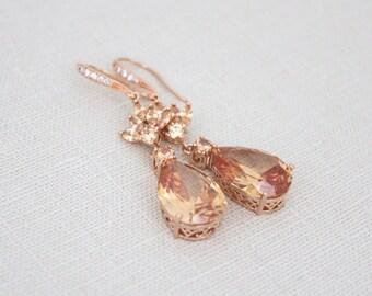 Rose Gold Bridal earrings, Wedding earrings, Wedding jewelry, Champagne crystal earrings, Teardrop earrings, CZ earrings, Blush wedding EMMA