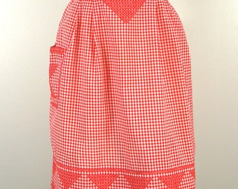 Vintage Half Apron, Cross Stitch Red Gingham Apron, Embroidered Red Kitchen Hostess Apron