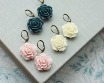 Flower Earrings, Rose Earrings, Ivory Roses, Something Blue Flower Earrings, Pink Flower Earrings, Ivory Flower Earrings, Rose Earrings