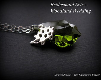Bridesmaid Necklace Sets - Sterling Silver Hedgehog Green Swarovski Crystal Necklace - Gift for Bridesmaid - Woodland Wedding Jewelry