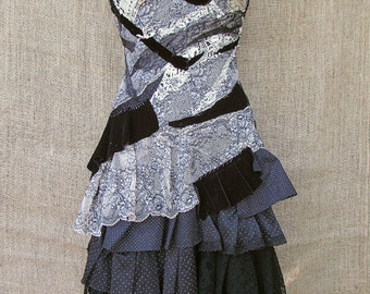 Black and beige ruffle dress