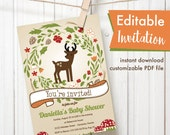 Woodland deer theme Editable Printable Baby Shower Party Invitation gender neutral or birthday invitation floral wreath mushrooms